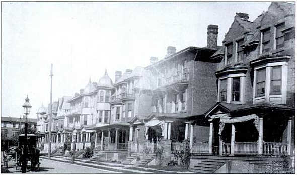 1908 photo looks northwest past 827 S. St. Bernard Street, right, and on toward Florence Avenue. (From <i>Philadelphia Neighborhoods</i> by Gus Spector)